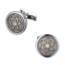 Laser engraving laser metal relief retro pattern high-quality Brass Round Crystal shirt cuff link(China)