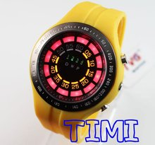 TVG wholesale New Diving Clock. Mens/Gents Sports Watch. Yellow Binary LED Watch freeship(China)