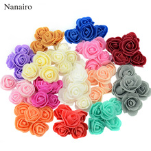 50pcs/lot Mini PE Foam Rose Flower Head Artificial Rose Flowers Handmade DIY Wedding Home Decoration Festive & Party Supplies(China)