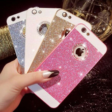 LOVECOM Female Glitter Powder Bling Phone Case For Iphone 6 6S 5 5S SE 6 Plus 7 Plus With Crystal Logo Window Phone Back Cover(China)