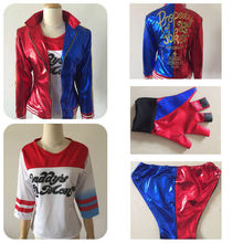 4 Pcs  Halloween Party Cosplay Size S-XXL Suicide Squad Harley Quinn Costumes with Coat Shirt Shorts and Gloves For Woman
