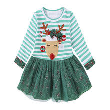 Kids Tales Girls Fashion Christmas Dress Baby Girls Clothes Kids Dresses For Girls Winter Long Sleeve For Kids Merry Christmas(China)