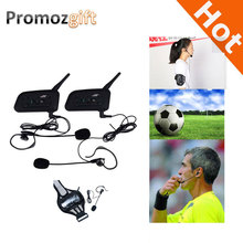 2016 2PCS V6 1200M Intercom Full Duplex Two-way Football Referee Coach Judger Arbitration Earhook Earphone