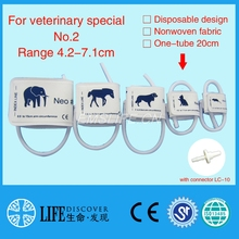 Disposable Non woven fabric NIBP Cuff with Single tube for Veterinary paitent monitor No.2 cats with connector LC-10(China)