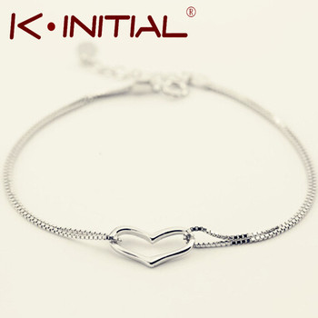 Kinitial 1Pcs New Style Romantic Heart Bracelet Bangle Femme 925 Silver Women Wedding Gfit Bracelets Pulseras Fine Jewelry