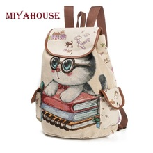 Miyahouse Female Canvas Backpack Cute Cats Print Backpack For Teenage Embroidery Women Drawstring Backpacks Girls School Bags(China)