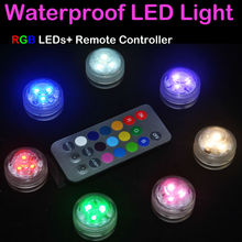 10Pcs/lot Waterproof Mini Battery Light RGB Tea Light Outside Party Light Ideas Floral Light With Remote for wedding party decor(China)