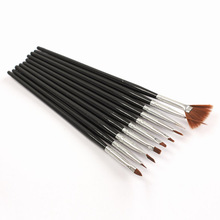 10Pcs Black Professional Nail Brushes Nail Art Painting Brush Gel Nail Brush UV Gel Design Pen Painting Brush(China)