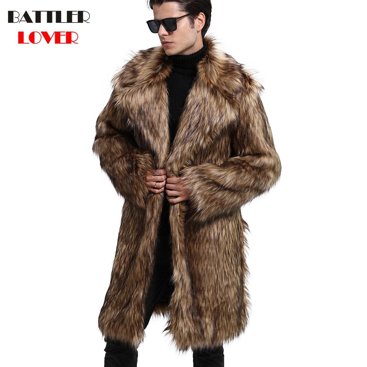 Mens Fur Coat Winter Warm Outwear Coats Faux Fur Men Punk Parka Jackets Hombre Thick Leather Overcoat Genuine Fur Brand Clothing