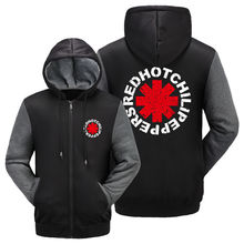 WISHOT Red Hot Chili Peppers Clothing RHCP Logo Hoodie Winter Jacket Fleece Mens Sweatshirts Thicken Zipper Fleece Coats Men