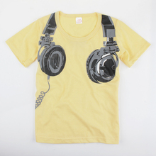 Headphone Pattern Boys T Shirt  Short Sleeve Tops T-shirt Tees 100% Cotton Children T-Shirts Kids Clothing