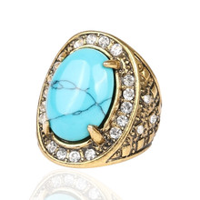 Vintage Trendy Bohemian Gold Plated Gorgeous Oval Stone Opal Crystal Turquoise Finger Ring for Women Jewelry Gift Anelli Donna