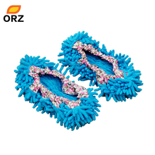 ORZ 1pair Dust Cleaner Grazing Slippers Bathroom Floor Cleaning Mop Cleaner Slipper Lazy Shoes Cover Microfiber Duster Cloth(China)