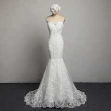 FOLOBE Sexy Strapless Crystal Beading Lace Wedding Dresses