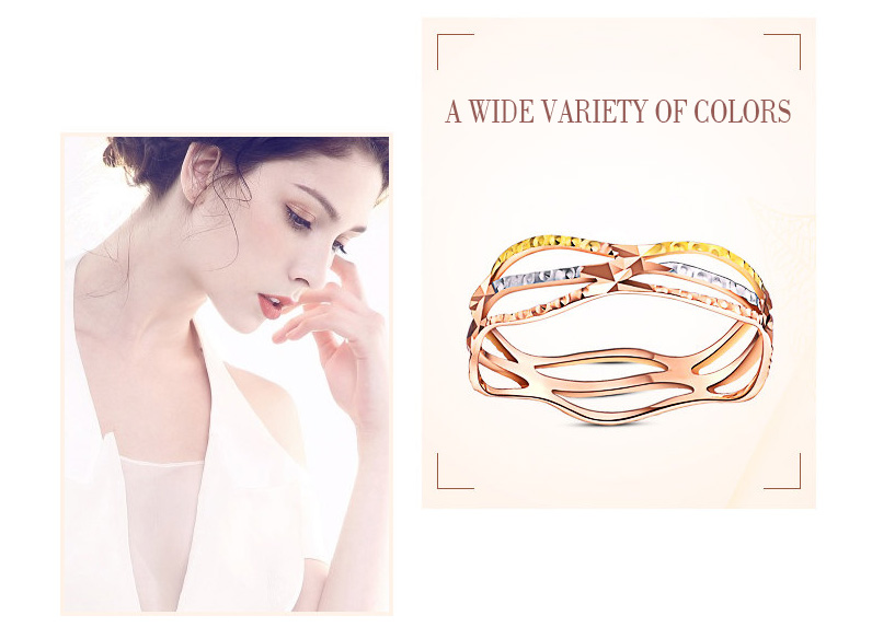 18k Pure Gold Color Ring Trendy Design Smart Women Fine Jewelry Miss Girl Gift Party Discount 2017 New Good Nice Like Beauty
