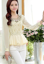 Free Shipping High Quality Elegant Plus Size S-XXXL Hot Sale Flower Beads Decorated Collect Waist Lace Chiffon Blouse Beige(China)
