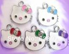 New design!! 50pcs 19*16mm mixed color Hello kitty with crystal&colorful epoxy Hang Pendant fit necklace cell phone charms.(China)