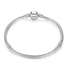 Fashion Silver Snake Chain European Charm Bead Fit Original Bracelet Bangle Jewelry For Women Without Logo(China)