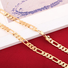 24K Gold Necklace Jewelry Mens Small Medium Big Size Figaro Chain Brass Necklace