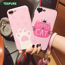YESPURE Lovely Cat Silicone Phone Case Covers for Iphone 7plus Cheap Cute Pink Cell Phone Accessories for Girls Free Shipping