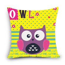 Lovely Owl decorative pillows cushion covers for sofa car office bedding cushion cover 45x45cm Factory direct sale cheap price(China)