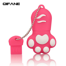 QIFANE Cartoon The cat's paw U Disk 64GB Creative USB Flash Drive 8G 16G 32G mini Lovely memory stick pen drive Free shipping