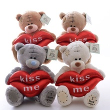 "Lovely ""I Love You"" White Brown Gray Teddy Bear Hold Lips ""Kiss Me"" Plush Bear Wedding Dolls Toys 5'' Brand New 5.5Inches"