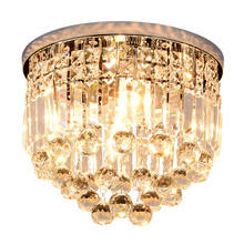 Modern brief bedroom K9 crystal E14 LED bulb ceiling lamp home deco dining room circular crystal ball ceiling lighting fixture