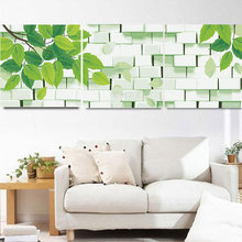 3pcs/set fashion design fresh green leaf brick wall Picture Painting By Numbers Adult DIY Canvas Oil Painting  HD0318-2