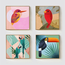 HAOCHU Geometric Abstract Hawaii Coconut Tree Toco Toucan Bird Canvas Painting Animals Wall Poster for Living Room Decoration(China)