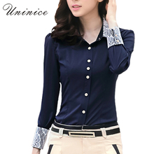 Lace Chiffon Blouse Shirt Women's Clothing OL Work Wearing Shirt Women Blouse 5XL Navy/White Long Sleeve Shirt Women Plus Size