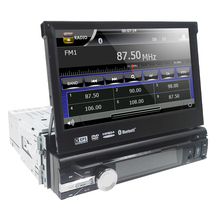 Free Shipping 1 Din car dvd player Motorized Flip out 7 Touchscreen Monitor Bluetooth gps Navigation AUX input USB SD