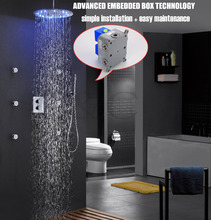 Good Quality! Thermostatic Bath Shower Faucet Set Easy Installation With Embedded Box 16 Inch LED Shower Head 002T-16R-3Y