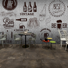 Free Shipping Gray cement black white brick wall retro wallpaper bar grill fast food restaurant beer shop 3D wallpaper mural