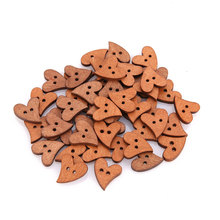 Wooden Heart Shape Button Brown Wood Sewing Craft Scrapbooking Novelty DIY(China)