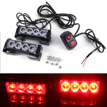 1 Pair 12V 4 LED Auto Car Strobe Flash Grille Light Warning Hazard Emergency Lamp Red