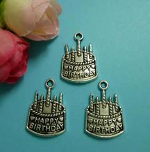 50pcs Antique Silver Alloy Birthday Cake Pendant Bracelets Necklace Jewelry Accessories Fashion Gift Making