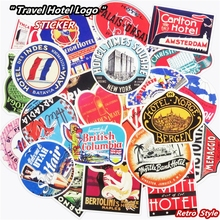 Mixed 55 Pcs Retro Style Travel Hotel Logo Stickers Chicago Hawaii Baghdad Trip Luggage Waterproof Sticker Toy Funny PVC Decals(China)