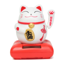1pc ABS Solar Chip Solar Powered Maneki Neko Welcoming Lucky Beckoning Fortune Cat Home Hotel Restaurant Decor Craft V4209