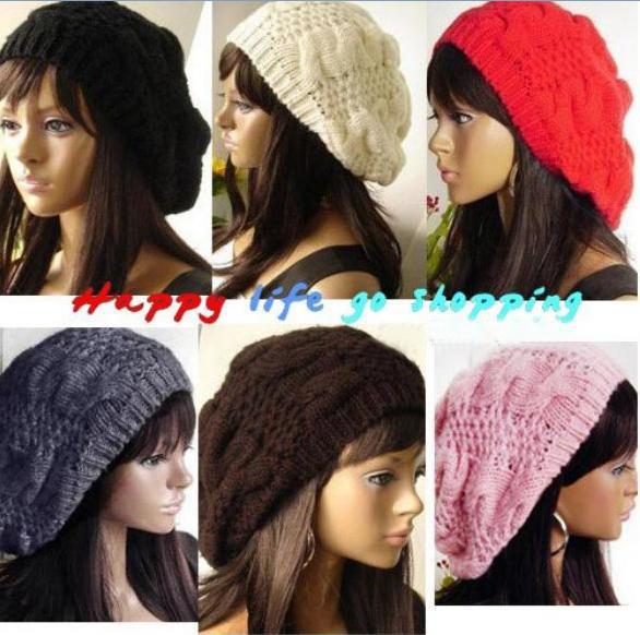 2015 New Fashion Winter Warm Women Ladys Beret Braided Baggy Beanie Crochet Hat Ski Cap 10 Colors Free ShippingÎäåæäà è àêñåññóàðû<br><br><br>Aliexpress
