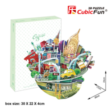 Cubic Fun 3D Paper Puzzle Toy DIY Assembled Cardboard Puzzles Famous City Scape Buildings Model Educational Kids Toys Brinquedos