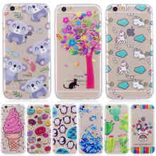 Panda Cat Soft TPU IMD Case For Apple iphone 6 s Cute Cartoon Ice cream Silicone cactus Cell Phone Cover Skin