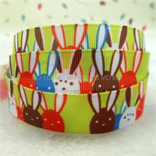 Happy Easter Ribbon 6mm-75mm Easter Rabbit Printed Grosgrain Ribbon DIY Handmade Hair Accessories Gift Wrapping MD160217-22-3481