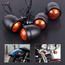 Motorcycle 4pcs 12V Black Bullet Turn Signal Indicator Lights Lamp Fit for Harley Honda Bobber Chopper Yamaha Suzuki Dirt Bike