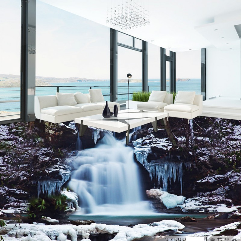 Free Shipping Shocking waterfalls 3D floor painting living room lobby office self-adhesive floor wallpaper mural<br>