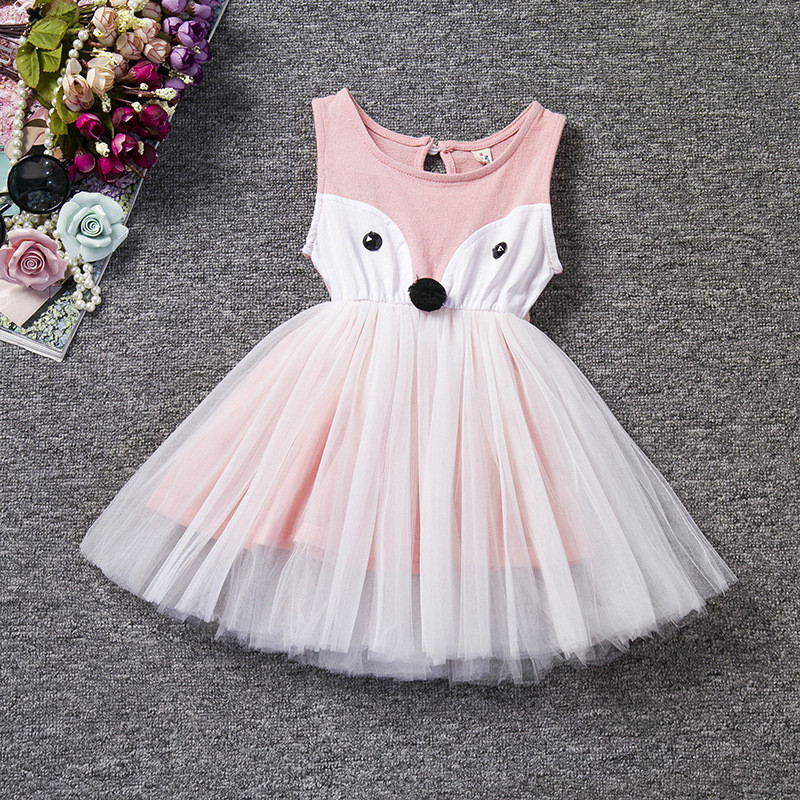 New Character Fox Pink Dress For Girl Children Sleeveless Cartoon Baby Girl Party Baptism Dresses Clothes for Kids Birthday<br><br>Aliexpress