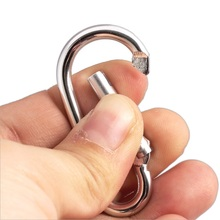 20Pcs Sliver Aluminum Alloy D-Ring Carabiner Snap Clip Hook Keychain Outdoor Travel Buckle Keyring for Hiking Climbing 4.2*2.1cm