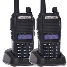 Hot 2pcs walkie talkie baofeng UV 82 Portable Radio comunicador UV-82 With Earphone CB Ham Radio Vhf Uhf double PTT button