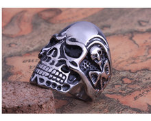 20pcs/lot 2014 Fashion Ring Stainless Steel Rings For Man Big Tripple Cool Skull Ring Punk Biker Jewelry  FS US Size 8-11