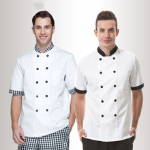 Male short-sleeved hotel restaurant kitchen white clothing waiter chef uniforms summer cotton aprons for men